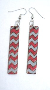 Wood Burned, Crimson and Gray Zig-Zag Earrings