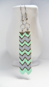 Wood Burned, Mint and Gray Chevron Earrings.