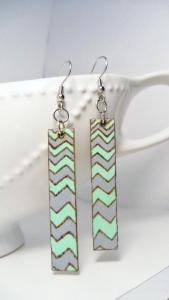 Mint and Gray Zig-Zag Earrings