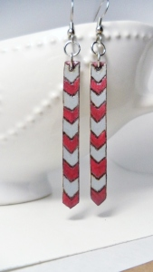 Crimson and Gray Chevron Earrings.